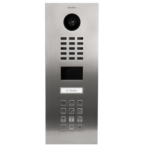 DoorBird IP Video Door Station D2101KV for single family homes, stainless steel V2A, brushed, incl. flush-mounting housing (vertical), 1 call button incl. incl. stainless steel plate with bell symbol, keypad module (surface-mounting housing sold separately)