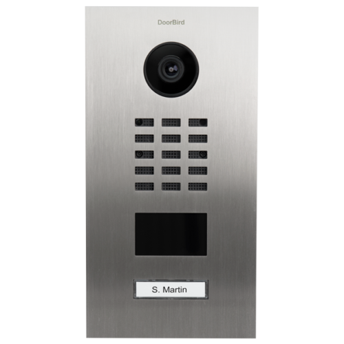 DoorBird IP Video Door Station D2101V, stainless steel V2A, brushed, incl. flush-mounting housing, 1 call button (surface-mounting housing sold separately)
